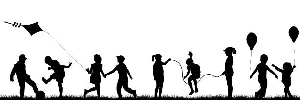 black children playing outdoor - kids stock illustrations, clip art, cartoons, & icons