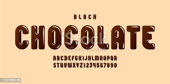 istock Black Chocolate glossy font, brown alphabet in the cartoon style, tasty rounded letters from A to Z and numbers from 0 to 9 for you designs, vector illustration 10EPS 1207009749