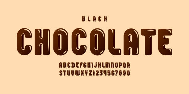 illustrazioni stock, clip art, cartoni animati e icone di tendenza di black chocolate glossy font, brown alphabet in the cartoon style, tasty rounded letters from a to z and numbers from 0 to 9 for you designs, vector illustration 10eps - cioccolata