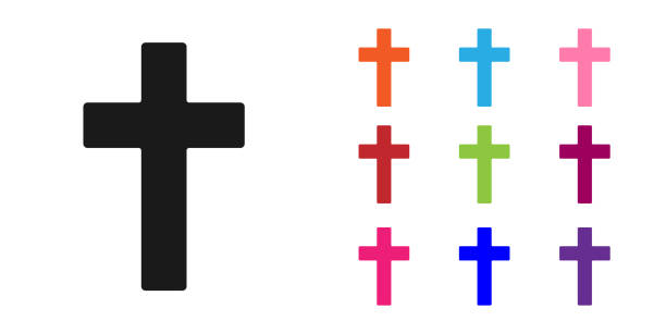 Black Christian cross icon isolated on white background. Church cross. Set icons colorful. Vector Illustration Black Christian cross icon isolated on white background. Church cross. Set icons colorful. Vector Illustration abstract clipart stock illustrations