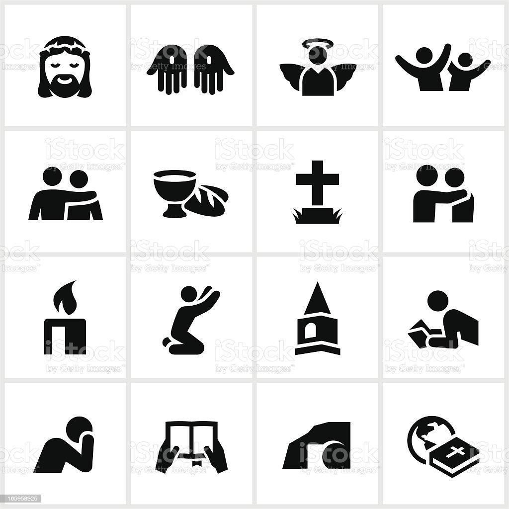 Black Christian Faith Icons vector art illustration
