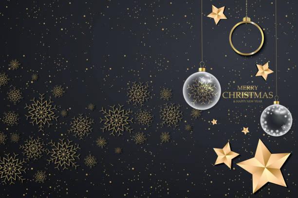 bildbanksillustrationer, clip art samt tecknat material och ikoner med svart jul bakgrund med gyllene snöflingor. festlig jul bakgrund med bollar, stjärnor - christmas decoration golden star