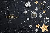 Black christmas background with white snowflakes. Festive Christmas background with shining gold balls, stars. Vector illustration