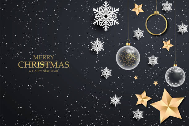 ilustrações de stock, clip art, desenhos animados e ícones de black christmas background with white snowflakes. festive christmas background with shining gold balls, stars. vector illustration - christmas card