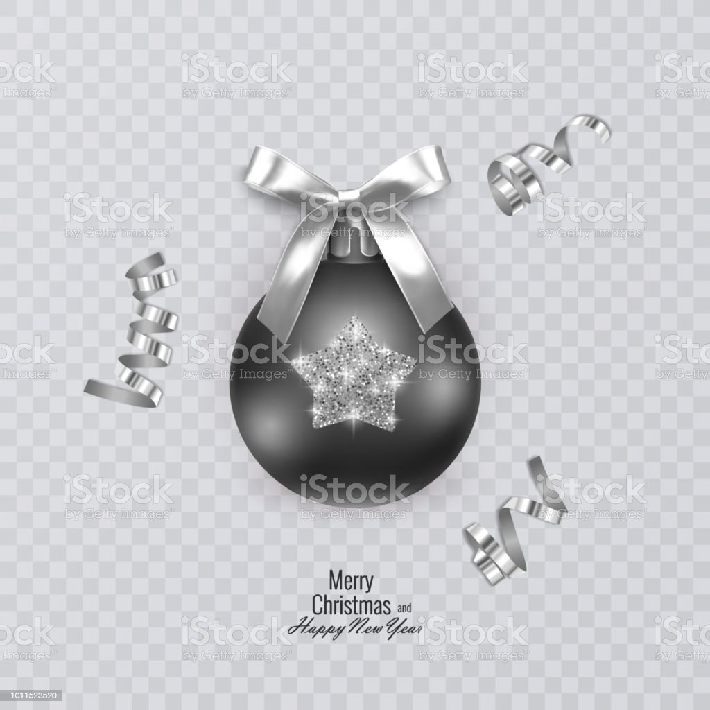 black christmas ball with glittering ornament on transparent