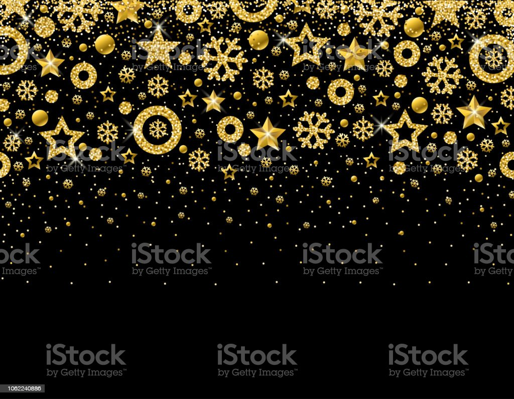 Black Christmas Card With Frame Of Golden Glittering Snowflakes And ...