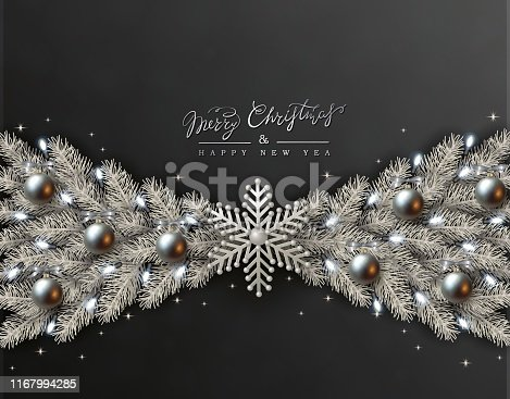 Black Christmas Design with Border made of Realistic Silver Balls, White snowflakes and Silvery Branches of Christmas Tree, light bulb. Luxury New Year and Christmas Greeting Card EPS10