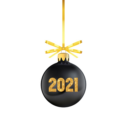 Black Christmas tree toy with red bow and shiny numbers 2021