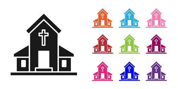 Black Church building icon isolated on white background. Christian Church. Religion of church. Set icons colorful. Vector Illustration
