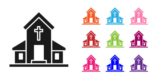 Black Church building icon isolated on white background. Christian Church. Religion of church. Set icons colorful. Vector Illustration Black Church building icon isolated on white background. Christian Church. Religion of church. Set icons colorful. Vector Illustration architecture clipart stock illustrations