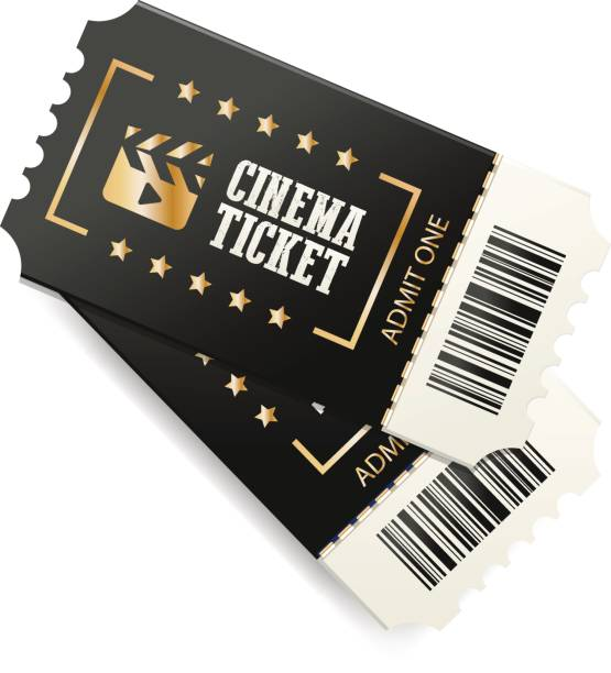 Black cinema tickets Two cinema tickets with barcode, close up top view isolated on white background. Creative vector concept, movie banner. movie ticket stock illustrations