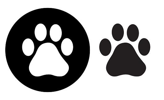 Black Circle Paw Print icon