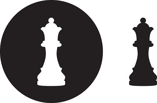 Black Circle Queen Chess Piece icon