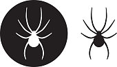Vector illustration of black and white spider icons.