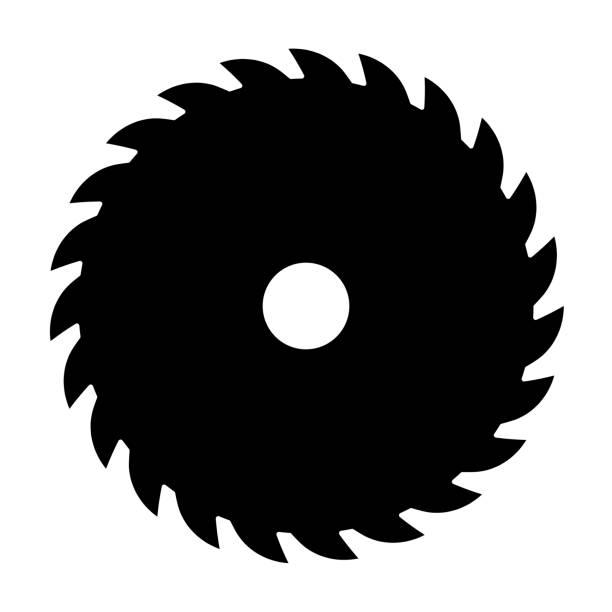 Black circular saw. Vector sign or icon. Symbol of saw mill Black circular saw. Vector sign or icon. Symbol of saw mill. electric saw stock illustrations