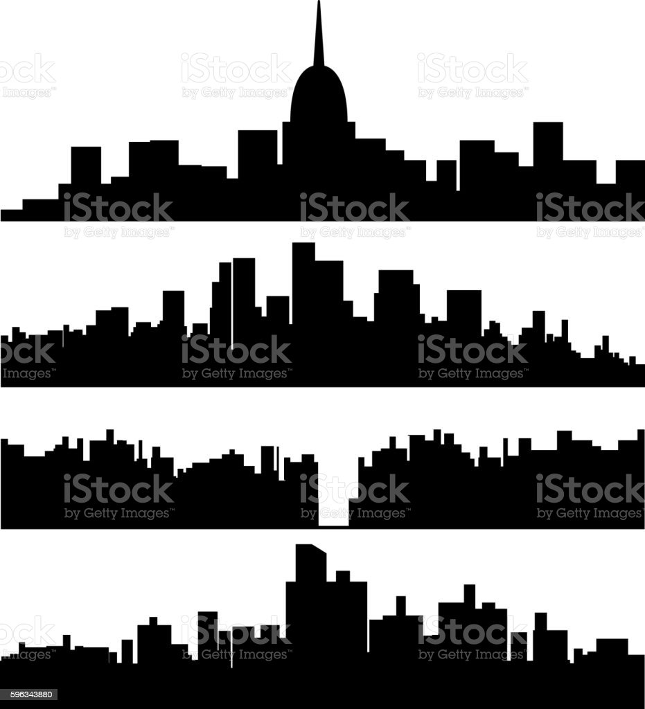 black city silhouette set royalty-free black city silhouette set stock vector art & more images of abstract