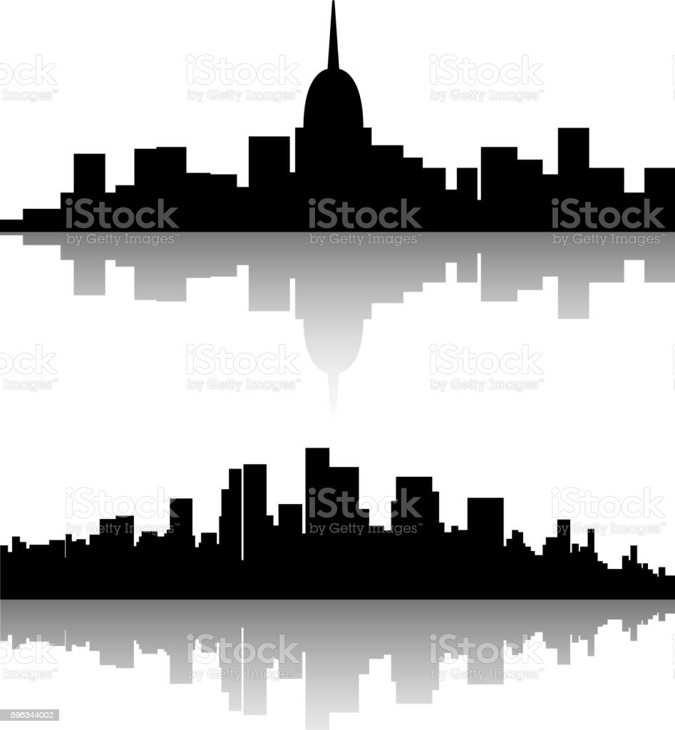 black city silhouette set Lizenzfreies black city silhouette set stock vektor art und mehr bilder von abstrakt
