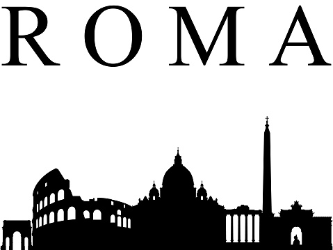 Black cityscape silhouette of Rome on white background