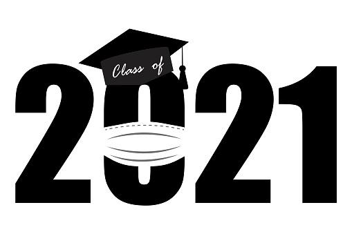 Black class of 2021 coronavirus. ntine. Celebration banner. Vector illustration, banner, poster. Stock image. EPS10.