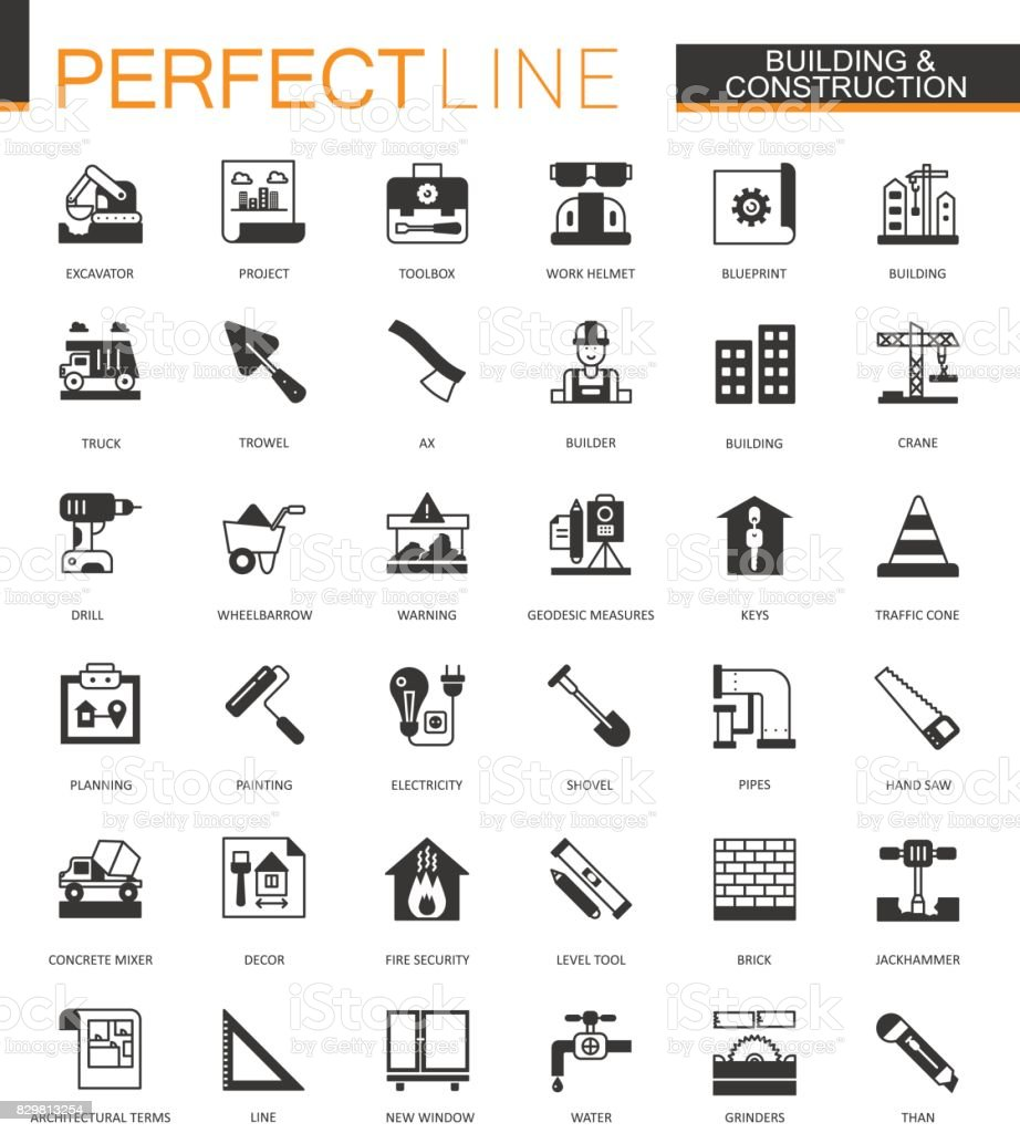 Black classic Building and construction tools web icons set. Home repair items. vector art illustration