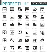 Black classic Data Science, data analysis icons set.