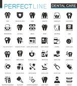 Black classic dental web icons set.