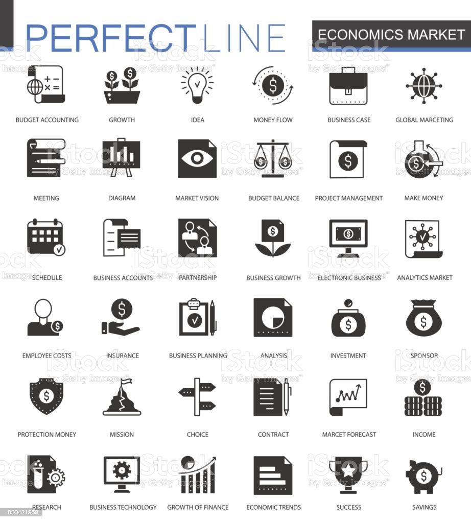 Black classic Economics market web icons set. Money, trading and finance icon. vector art illustration