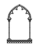Black classic gothic architectural decorative frame isolated on white. Vintage engraving stylized drawing. Vector Illustration