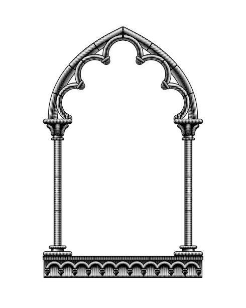 Black classic gothic architectural decorative frame isolated on white Black classic gothic architectural decorative frame isolated on white. Vintage engraving stylized drawing. Vector Illustration architecture borders stock illustrations
