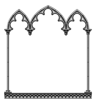 Black classic gothic architectural decorative frame isolated on white