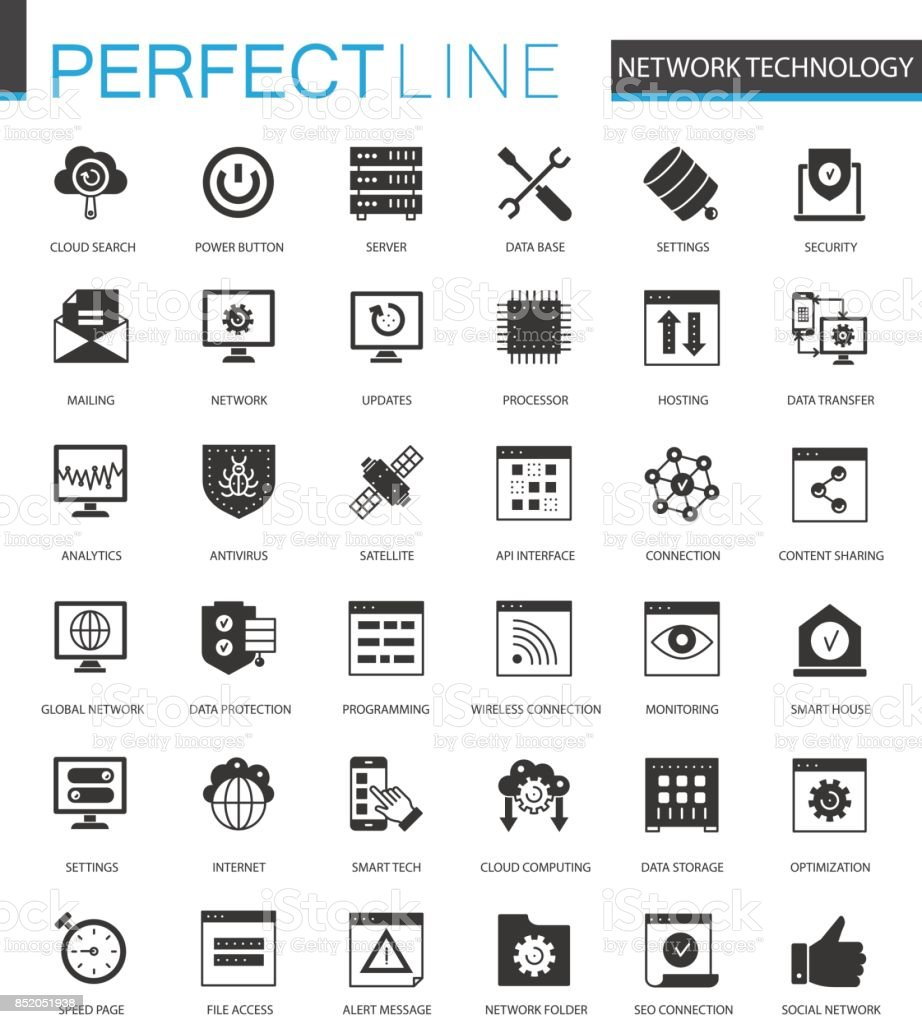 Black classic Network technology icons set for web. vector art illustration