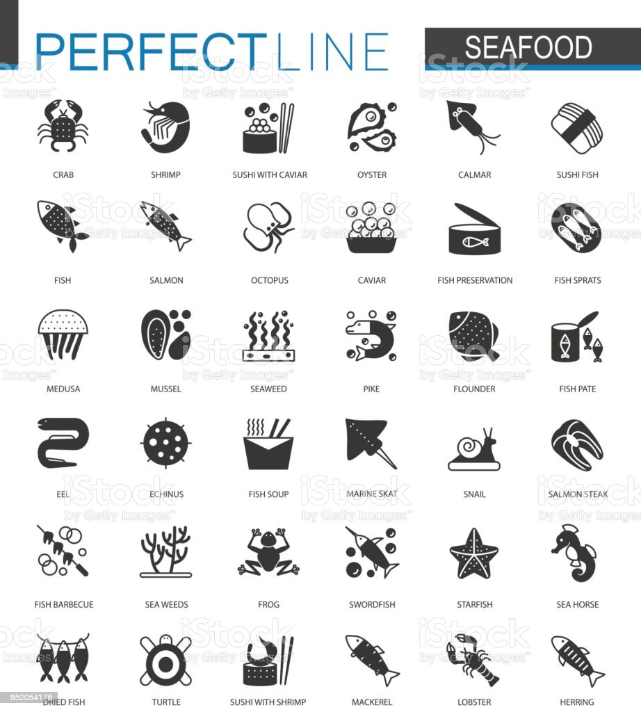 Black classic Seafood icons set. Sea food illustrations. vector art illustration