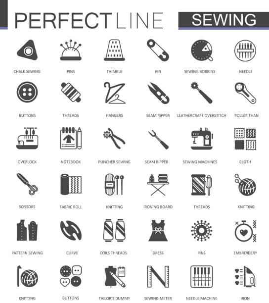 schwarze klassische nähen handarbeiten web icons set. - lederverarbeitung stock-grafiken, -clipart, -cartoons und -symbole