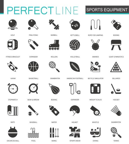 Black classic Sport equipment icons set for web Black classic Sport equipment icons set for web isolated ping pong table stock illustrations