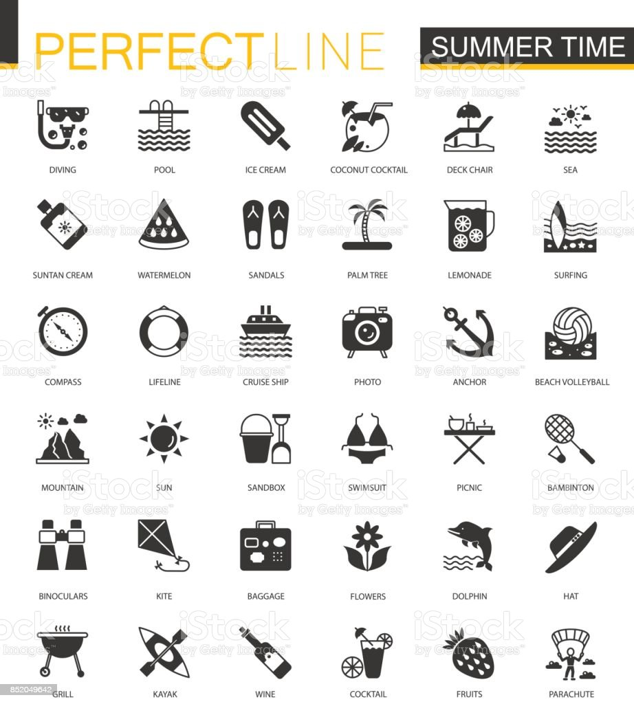 Black classic summer time, vacation activity icons set vector art illustration