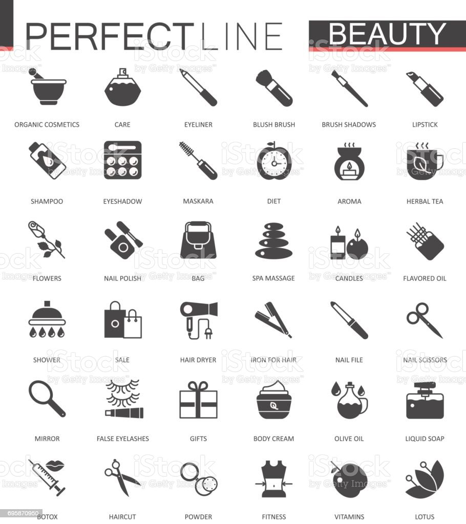 Black classic web icons set. Beauty and cosmetics. Body skin care. vector art illustration