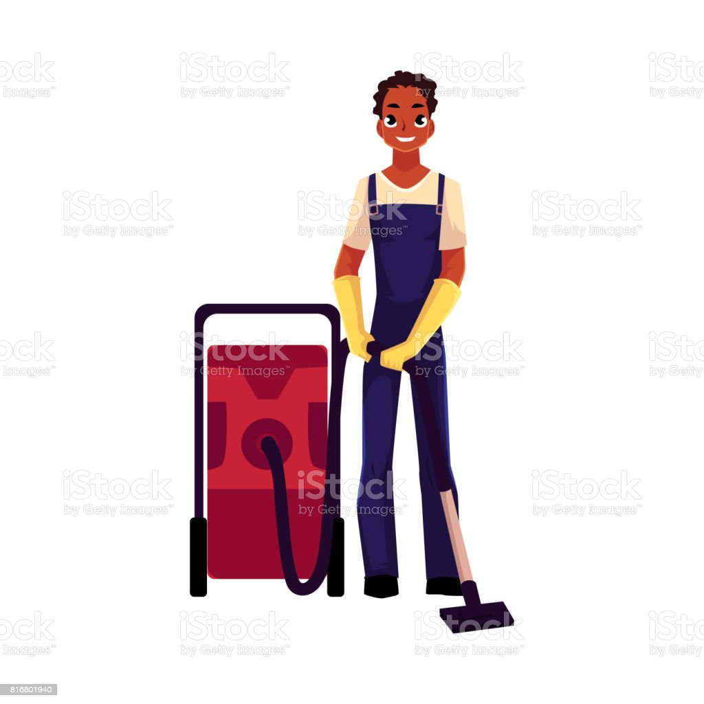 Black cleaning service boy, man in overalls, professional vacuum cleaner vector art illustration