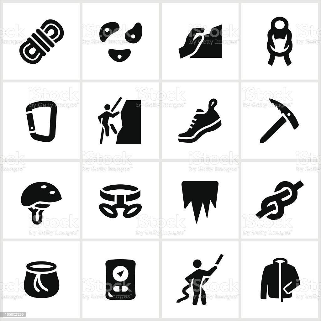 Escalada iconos negro - ilustración de arte vectorial