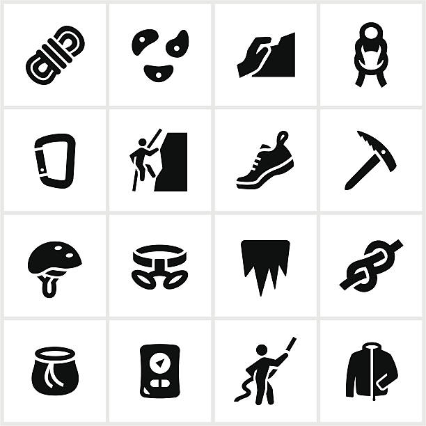 Black Climbing Icons Mountain and ice climbing icons. All white strokes and shapes are cut from the icons and merged allowing the background to show through. safety harness stock illustrations