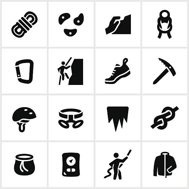 black klettern symbole - funktionsjacke stock-grafiken, -clipart, -cartoons und -symbole