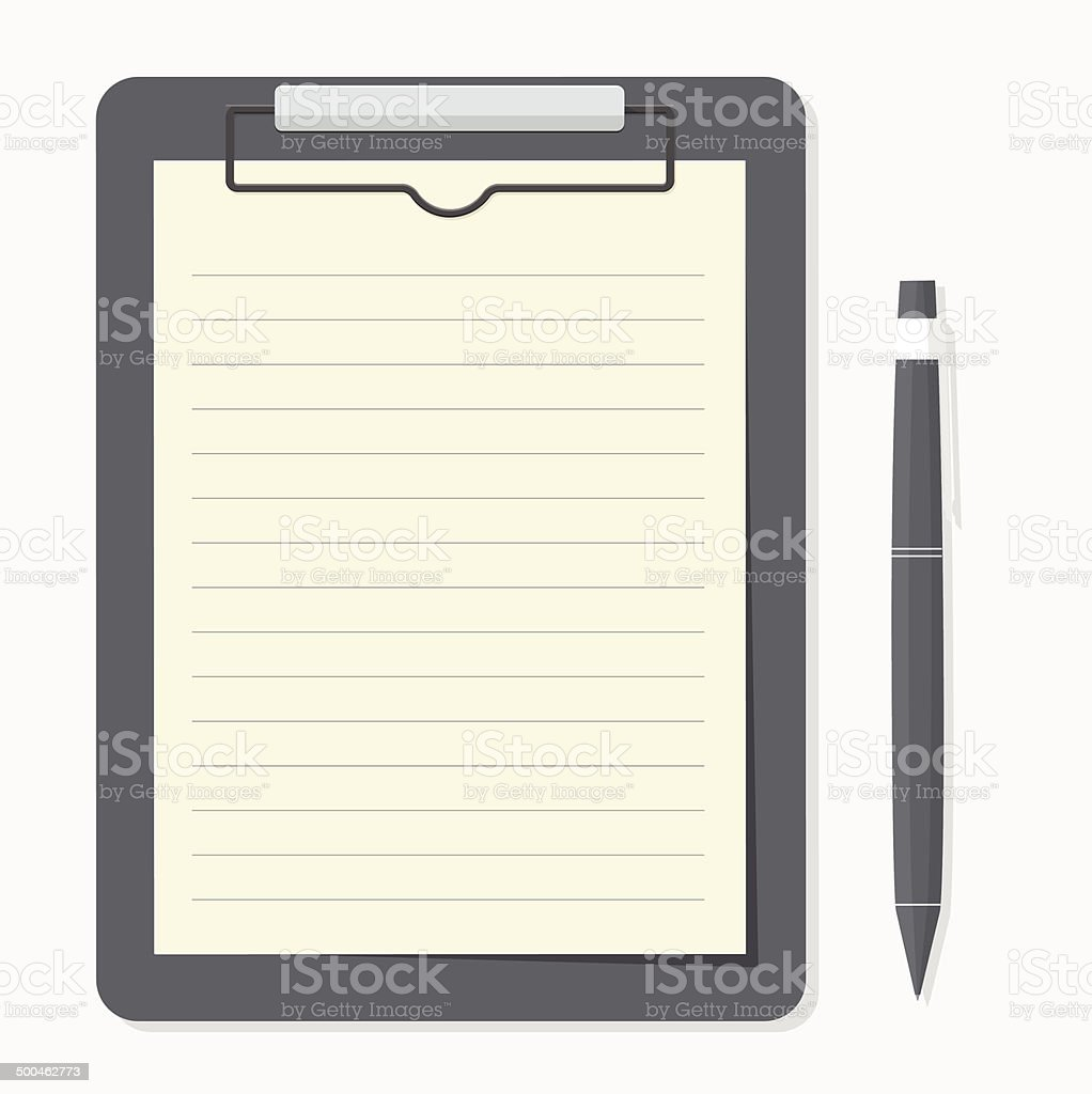 black clipboard with brown paper and pen put alongside. vector art illustration