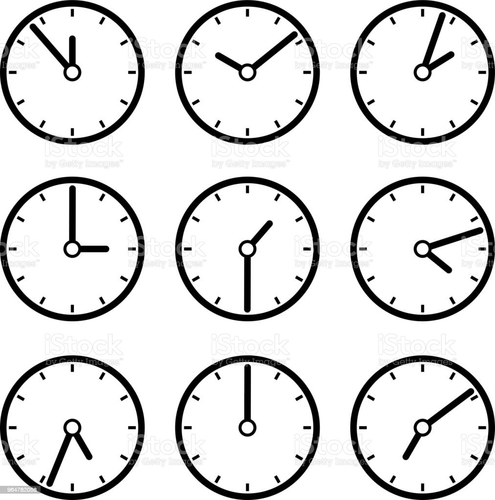 Black Clock illustration set royalty-free black clock illustration set stock vector art & more images of black and white