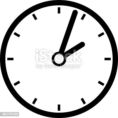Black Clock Illustration Stock Vector Art & More Images of Black And White 964782000