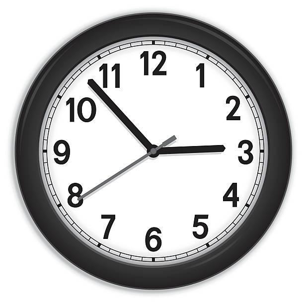 Black clock Black clock on a white background wall clock stock illustrations