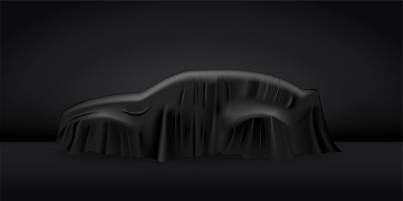 Black cloth drapery covering car. Silk fabric hanging on gift for surprise reveal vector illustration. Hidden car under veil decoration on dark background. Mysterious presentation event
