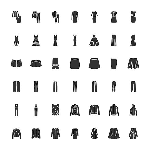 black clothes icons part 2 - pelzmäntel stock-grafiken, -clipart, -cartoons und -symbole