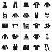 Black Clothing and Fashion collection icons