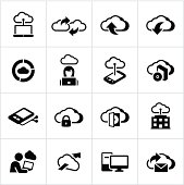 Black Cloud Computing Icons
