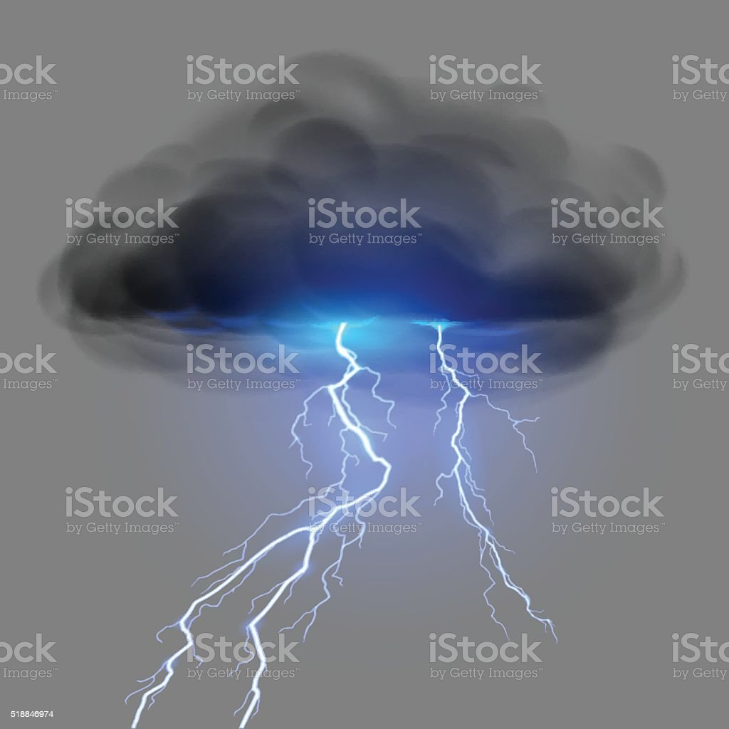 Black cloud with lightning vector art illustration
