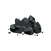 Black coal lump piece, fuel mine industry and energy resource icon, shiny cartoon rock pile with stray stone pieces isolated on white background, flat geometric vector illustration